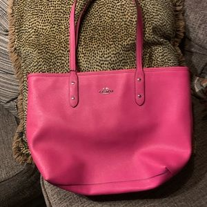 Hot pink Coach tote